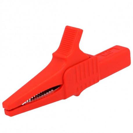 Pinza de cocodrilo 32A, Rojo. Conector hembra 4mm.