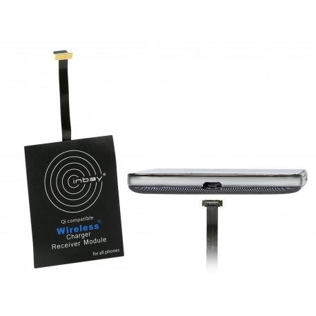 Inbay® Qi Receptor de carga externo micro USB lado corto arriba