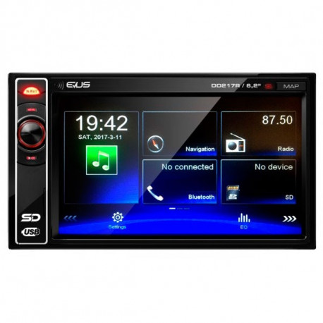 "Radio GPS Android 6.0 LCD Táctil 7"" 1080p Quad Core Bluetooth"