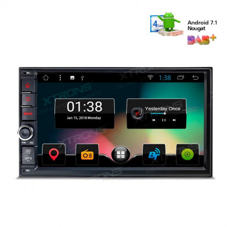 "Radio GPS Android 7.1 LCD Táctil 7"" 1080p Quad Core Bluetooth"