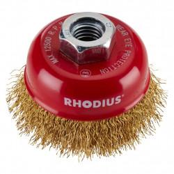 Cepillo de taza alambre  miniamoladora Rhodius 75mm