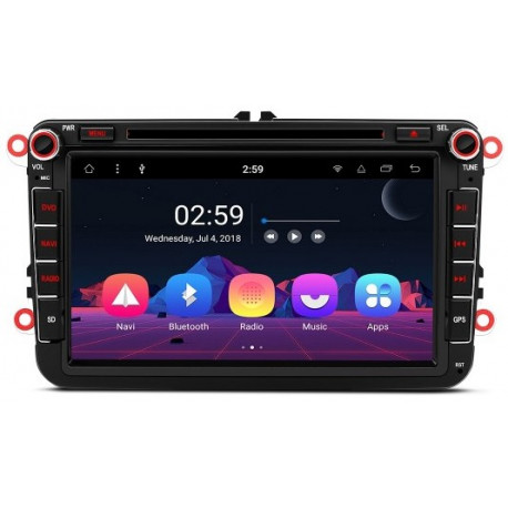 "Radio DVD GPS Android 8.0 LCD táctil 8"" VW Seat y Skoda 4GB RAM HDMI"