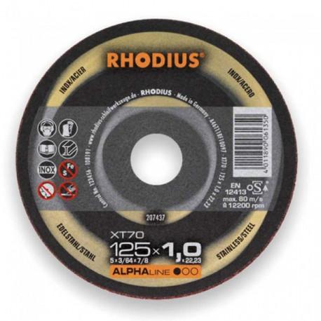 RHO207439 Disco corte inox Rhodius 1,5mm XT70-125x1,5