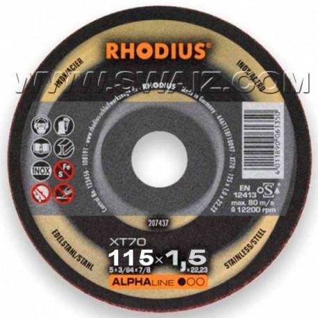 RHO207438 Disco corte inox 1,5mm Rhodius XT70-115x1,5