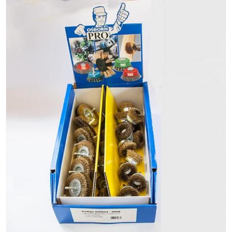 Caja expositora con 36 cepillos tipo taza y circular acero latonado espiga 6 mm