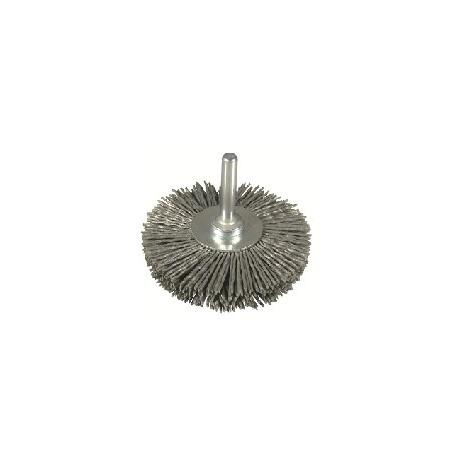 Cepillo circular D.75 nylon abrasivo grano grueso espiga de 6 mm