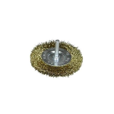 Cepillo circular D.100 alambre acero latonado espiga de 6 mm