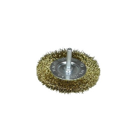 Cepillo circular D.50 alambre acero latonado espiga de 6 mm