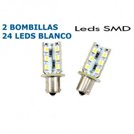 2 Bombillas BA9S 3 Leds SMD Blancos Can Bus