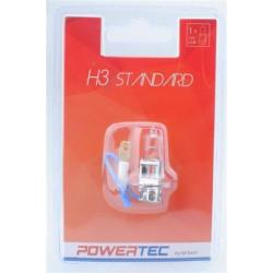 Blister 1 lámpara halógena efecto Xenon Transparente Powertec STANDARD H3 12V blíster E4