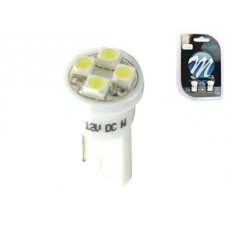 Blister 2x Lámpara led L017 - W5W 4xSMD3528 Blanco 12V