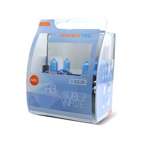 Pack 2 lámparas halógenas efecto Xenon SuperBlanco Powertec SuperBlanco H3 12V DUO E4
