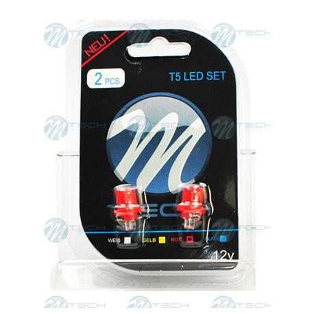 Blister 2x Lámpara led L004 - B8.5d cóncavo Rojo 12V