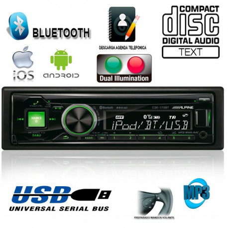 RADIO CD / USB ALPINE CDE173BT CONTROLADOR DE iPod CON BLUETOOTH® AVANZADO