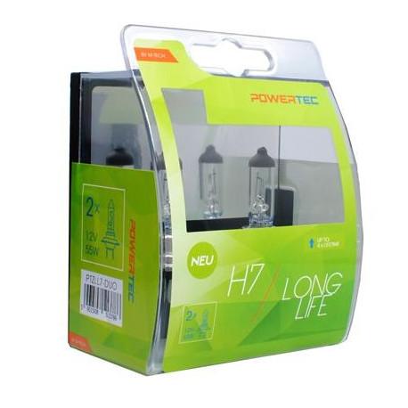 Blister 1 lámpara halógena efecto Xenon Transparente Powertec STANDARD H7 12V blíster E4