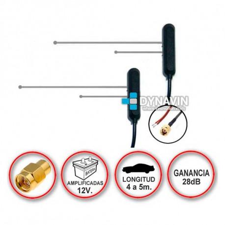 Antena TDT (pareja) SMA de pegar (12V-28dB)