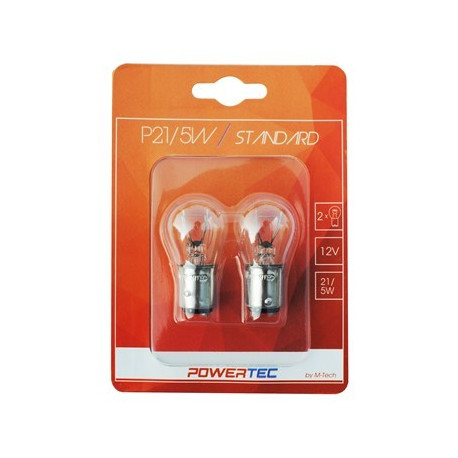 Blister 2 lámparas BA15SD P21/5W halógenas transparente Powertec STANDARD