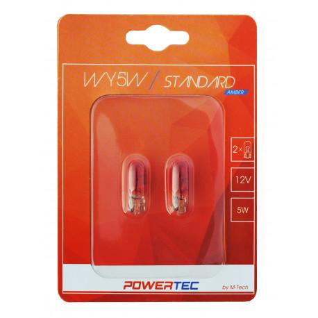 Blister 2 lámparas W5W T10 halógenas AMBAR Powertec STANDARD