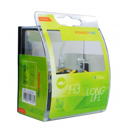 Caja 2 lámparas halógena Powertec Long Life H3 12V