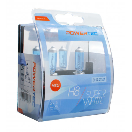 Pack 2 lámparas halógenas SuperBlanco Powertec H8 12V DUO E4