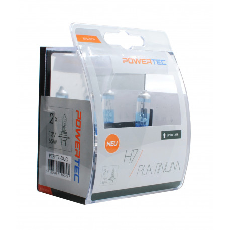 Pack 2 lámparas halógenas m-tech Powertec platinum H7 12V 55W