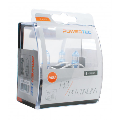 Pack 2 lámparas H3 Powertec Platinum +130% H7 12V DUO