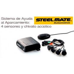 Kit 4 Sensores de Aparcamiento DELANTEROS SteelMate color negro con zumbador