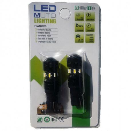 2 Bombillas LED T10 11W 9-30V 8SMD3014+SEL3030 White 270 lumen