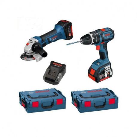 Combo Bosch Miniamoladora GWS 18V-Li 125mm +GSB 18 VE-EC Professional +2 bat. 6 Ah