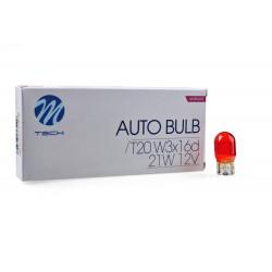 Caja 10 Lámparas halógenas T20 WX3x16d 12V/21W WY21W AMBAR