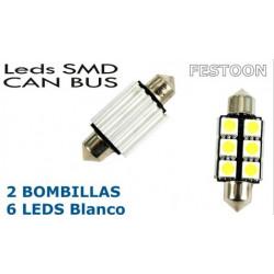 2 Bombillas de LED Festoon de 38mm