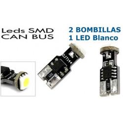 2 Bombillas de LED T10, 1 Led SMD Blanco Can Bus