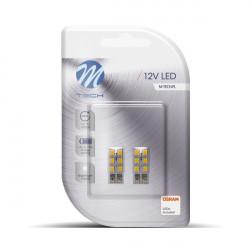 Blister 2x Lámpara led LB083 - W5W 6xSMD3528  Blanco 12V