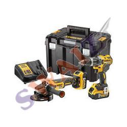 DeWalt KIT XR 18V DCD776 Taladro Percutor + DCG412 Amoladora + 2 baterías 4AH+ maletín TSTAK