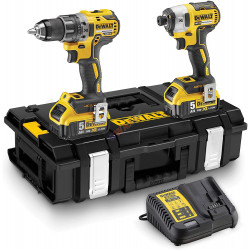 DEWALT  DCK2080P2T-QW-KIT XR 18V  DCD796 Taladro Percutor + DCG405 Amoladora + 2 baterías Li-Ion 5Ah + maletín TSTAK Vi