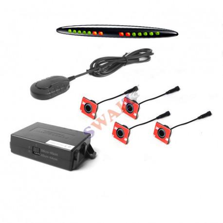 1 Kit 4 Sensores traseros/delanteros 12/24V SteelMate color negro con zumbador