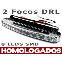 Faros de 8 Leds SMD DLR Blancos Luz Dia Homologados