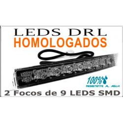 Faros 9 Leds SMD DRL Blancos Luz Diurna Homologados