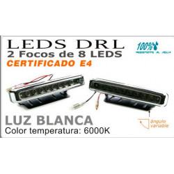 Faros de 8 Leds 111mm DLR Blancos Luz Diurna Certificado E4