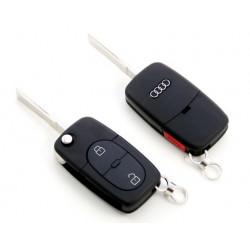 Carcasa de llave para Audi A2 A3 A4 A6 A8 con 2 botones + panic y espadín plegable