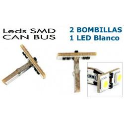 2 Bombillas de LED T10 Posición 2 Leds SMD Blancos para CANBUS