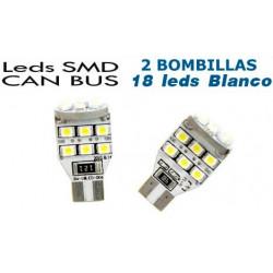 2 Bombillas de LED T10 Posición 18 Leds SMD Blancos para CANBUS
