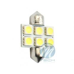 Lámpara led L027 - C5W 31mm 6xSMD5050 Blanco 12V