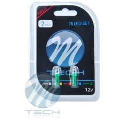 Blister 2x Lámpara led L002 - T5 cóncavo Verde 12V