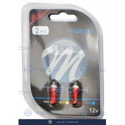 Blister 2x Lámpara led L053 - T5 1xSMD5050 Rojo 12V