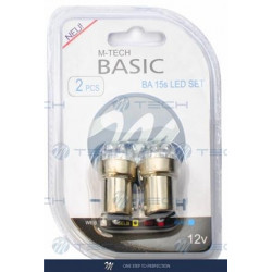 Blister 2x Lámpara led L074 - Ba15s G18 8LED 5mm Amarillo 12V