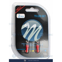 Blister 2x Lámpara led L002 - T5 cóncavo Rojo 12V