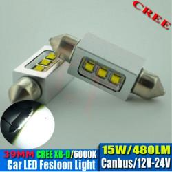 2 Bombillas led CREE-CANBUS-FESTOON 39 mm 10W 9-30V OSRAM white 140
