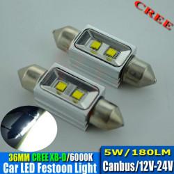 2 Bombillas led CREE-CANBUS-FESTOON 36 mm 5W 9-30V OSRAM white 140