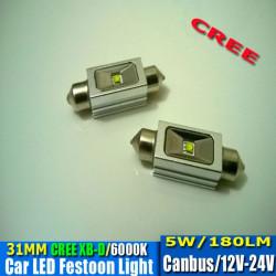 2 Bombillas led CREE-CANBUS-FESTOON 31 mm 5W 9-30V OSRAM white 140